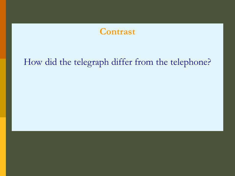 Contrast How did the telegraph differ from the telephone?
