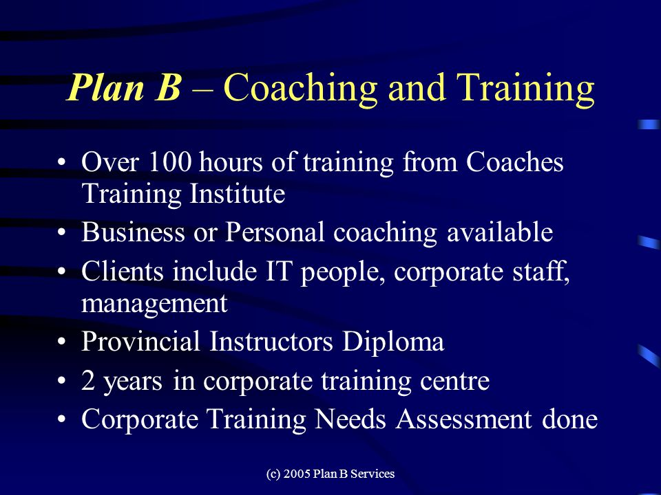 (c) 2005 Plan B Services Plan B – Management Consulting 20 years in IT 9 years managing Help Desks and Quality Assurance HDBC executive member for 5 years HDI Member Advisory Board member Spoke at HDI Global conference in 2002 –How I retain my staff –I have a training plan that works