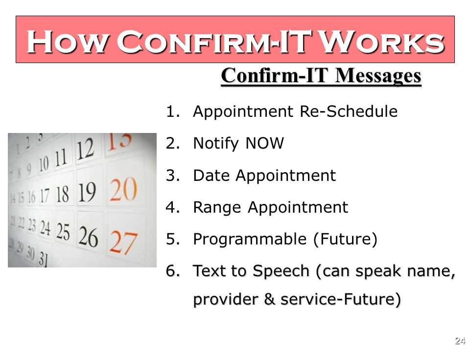 23 Confirm-IT Messages 1. Appointment Confirmation Greeting 2.