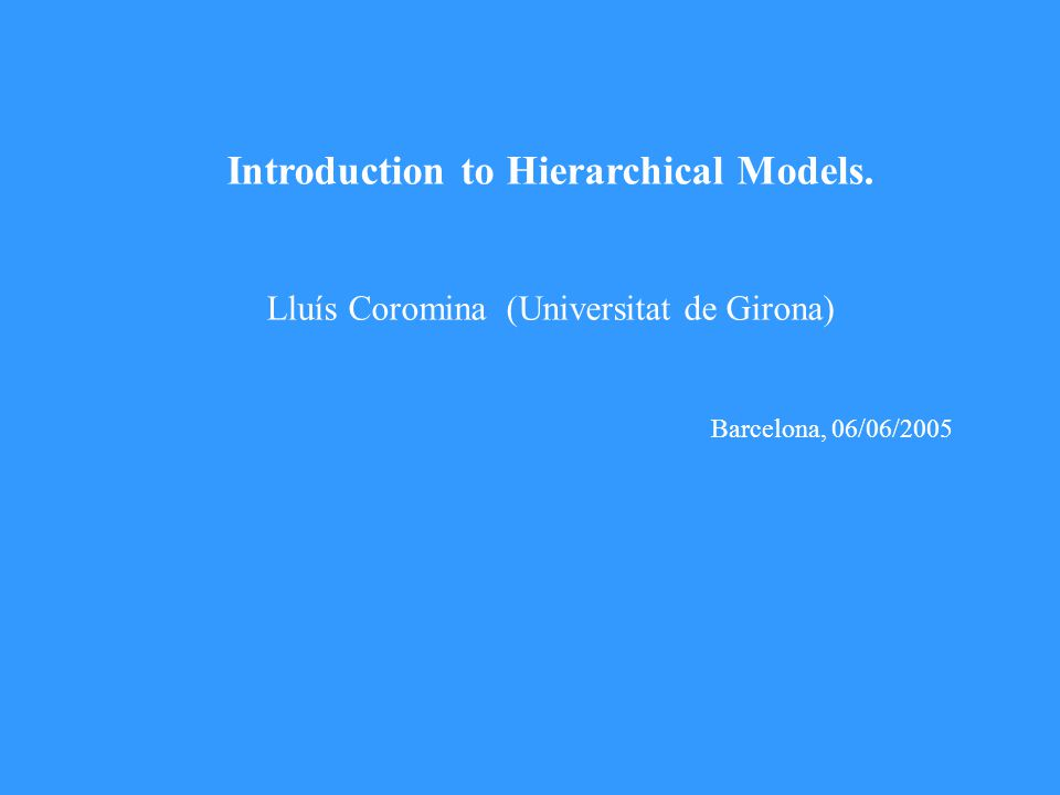 Härnqvist Method Separate analysis for S B and S W Group measures S w is the ML estimator of Σ W S B is the ML estimator of Σ W +cΣ B (10) Multilevel model Model estimated by Maximum Likelihood (ML).