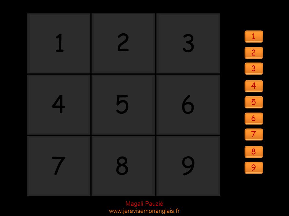 Magali Pauzié www.jerevisemonanglais.fr 1 2 3 4 56 987 1 1 2 2 3 3 4 4 5 5 6 6 7 7 8 8 9 9