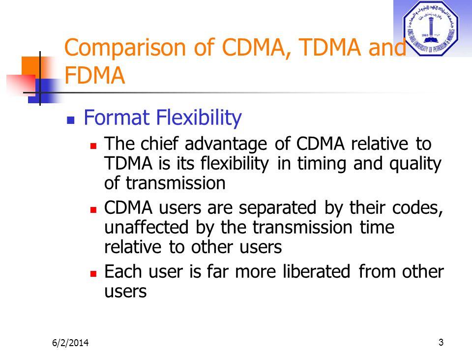 6/2/201414 Comparison of CDMA, TDMA and FDMA..