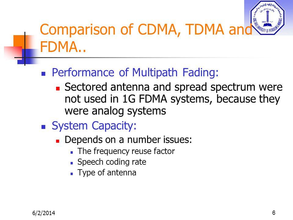 6/2/201417 Comparison of CDMA, TDMA and FDMA..