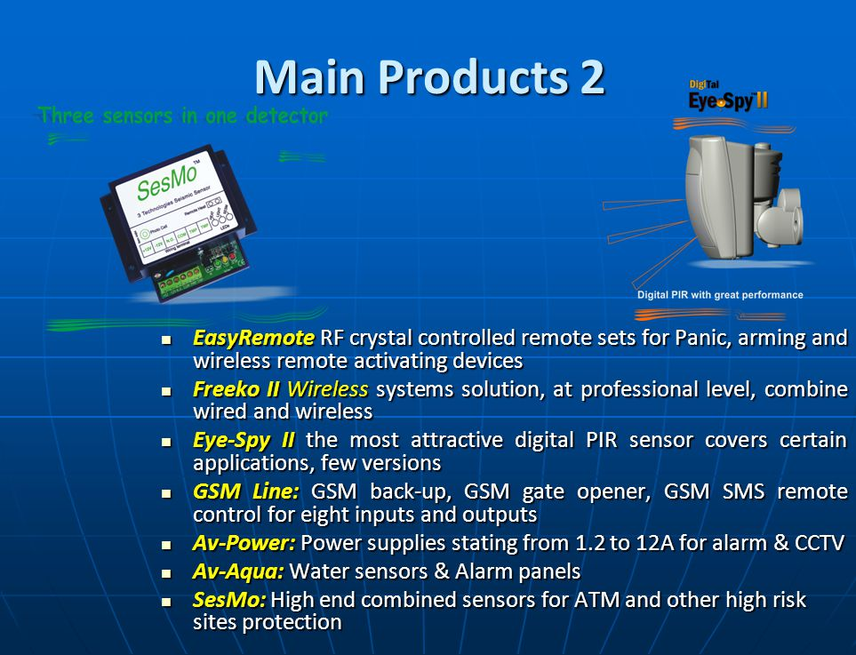Main Products 1 Main Products 1 EasyLoader Computerized Control Panels (4 to 32 zones), with the latest features; remote maintenance, reports to all central stations.