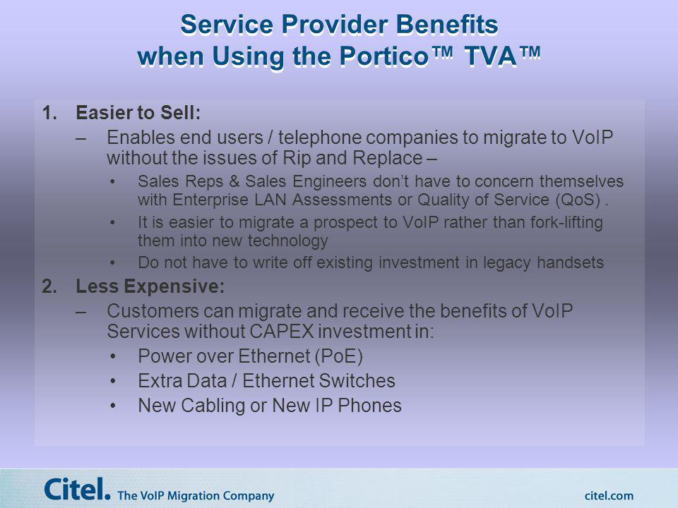 Service Provider Benefits when Using the Portico TVA 1.Easier to Sell: –Enables end users / telephone companies to migrate to VoIP without the issues