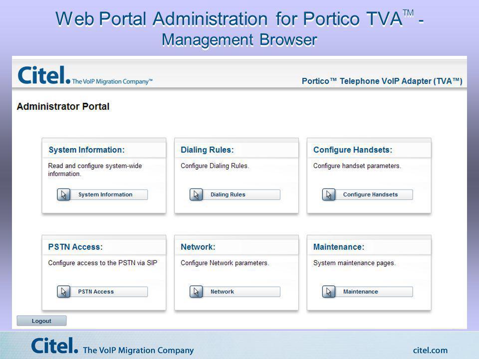 Web Portal Administration for Portico TVA TM - Management Browser