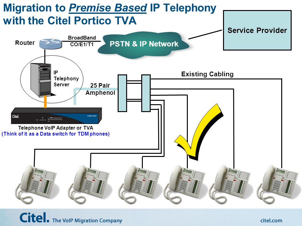 Existing Cabling 25 Pair Amphenol PSTN CO Lines/E1/T1 Service Provider Challenge in Migrating to IP Telephony