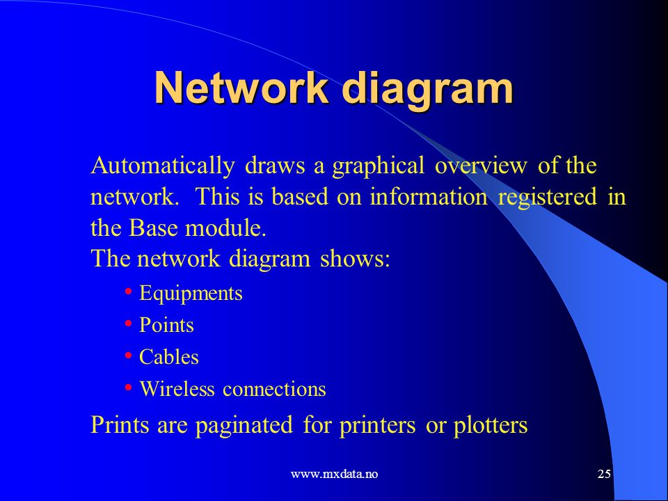 www.mxdata.no25 Network diagram Automatically draws a graphical overview of the network. This is based on information registered in the Base module. T