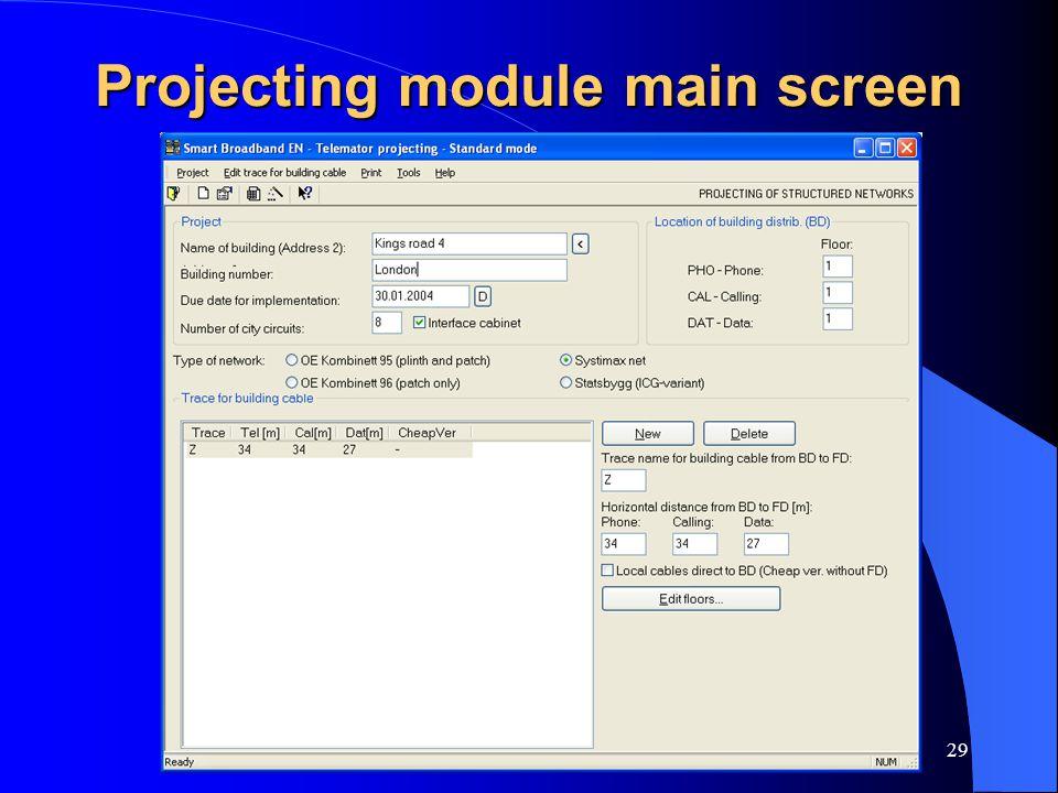www.mxdata.no29 Projecting module main screen