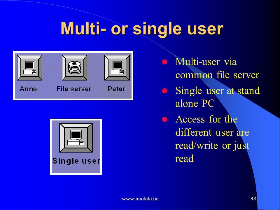www.mxdata.no38 Multi- or single user Multi-user via common file server Single user at stand alone PC Access for the different user are read/write or