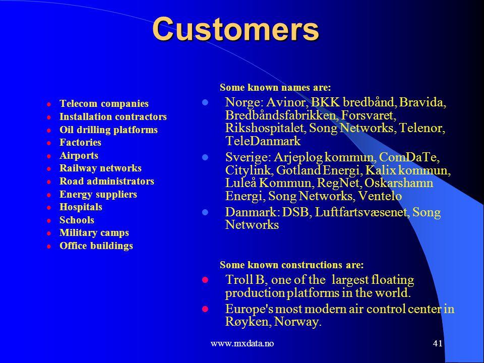 www.mxdata.no41 Customers Telecom companies Installation contractors Oil drilling platforms Factories Airports Railway networks Road administrators En