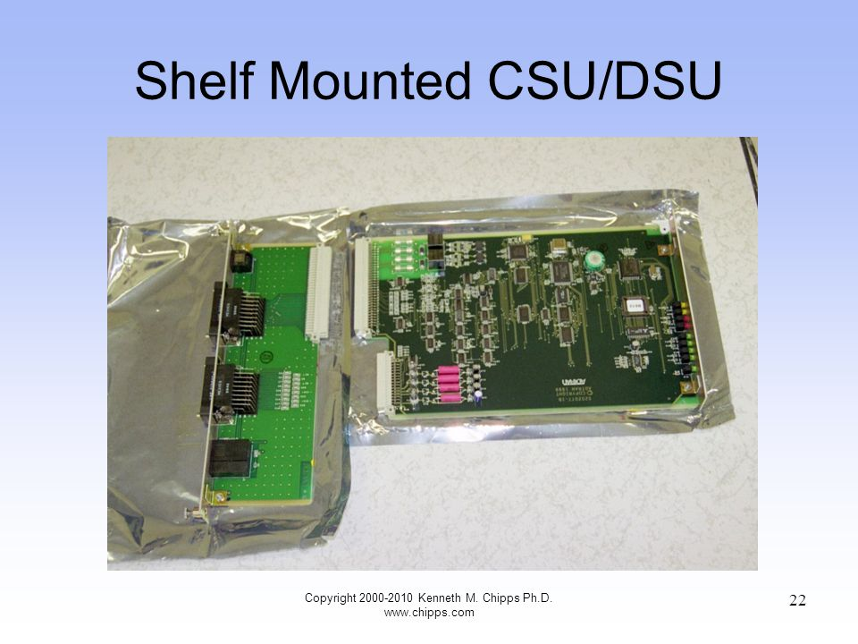 Shelf Mounted CSU/DSU Copyright 2000-2010 Kenneth M. Chipps Ph.D. www.chipps.com 22