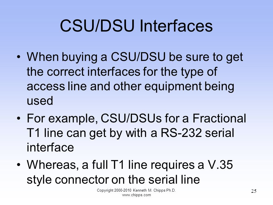 CSU/DSU Interfaces When buying a CSU/DSU be sure to get the correct interfaces for the type of access line and other equipment being used For example, CSU/DSUs for a Fractional T1 line can get by with a RS-232 serial interface Whereas, a full T1 line requires a V.35 style connector on the serial line Copyright 2000-2010 Kenneth M.