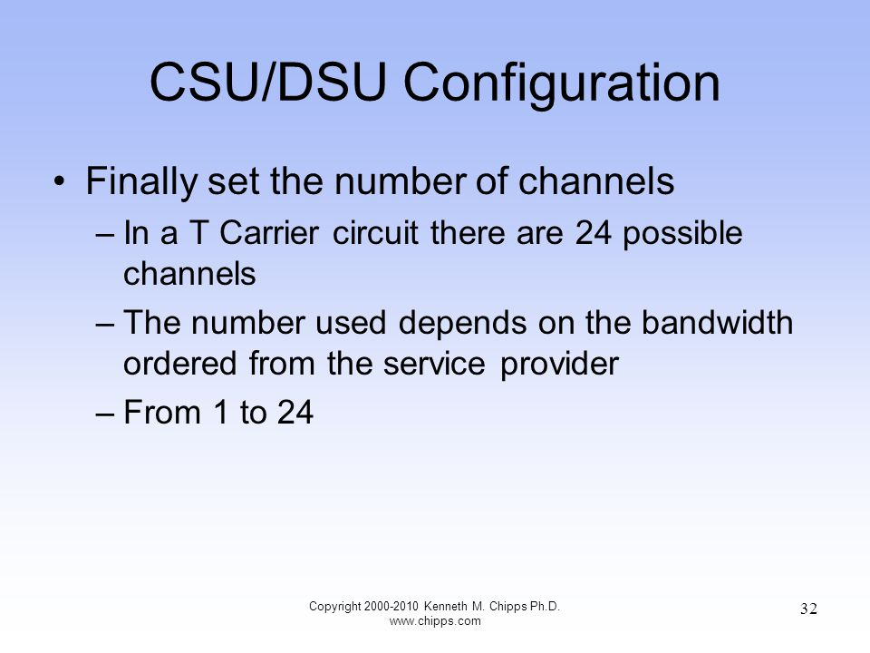 CSU/DSU Configuration Finally set the number of channels –In a T Carrier circuit there are 24 possible channels –The number used depends on the bandwidth ordered from the service provider –From 1 to 24 Copyright 2000-2010 Kenneth M.