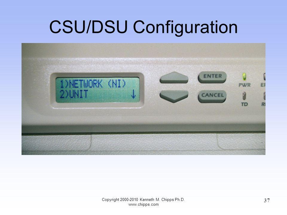 CSU/DSU Configuration Copyright 2000-2010 Kenneth M. Chipps Ph.D. www.chipps.com 37