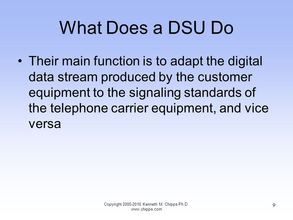 Physical Types of CSU/DSUs There are many physical types of CSU/DSUs These range from table top to rack mount to shelf units Lets look at examples of these Copyright 2000-2010 Kenneth M.