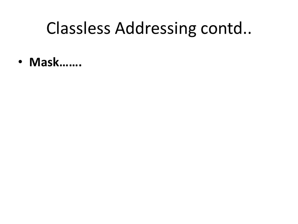 Classless Addressing contd.. Mask…….