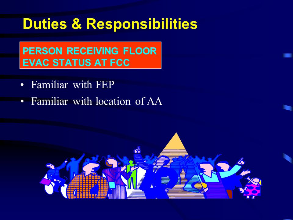 PERSON RESPONSIBLE FOR ISOLATION OF FIRE ALARM Conversant with FEP, location & operation of fire alarm system Duties & Responsibilities