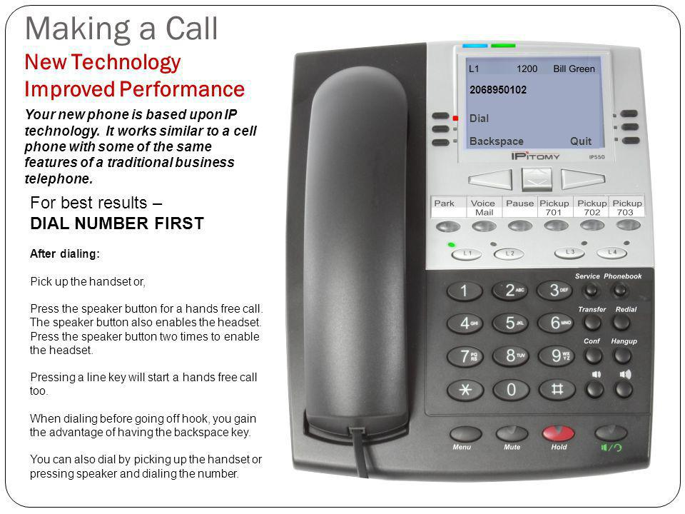 Making a Call New Technology Improved Performance Your new phone is based upon IP technology.