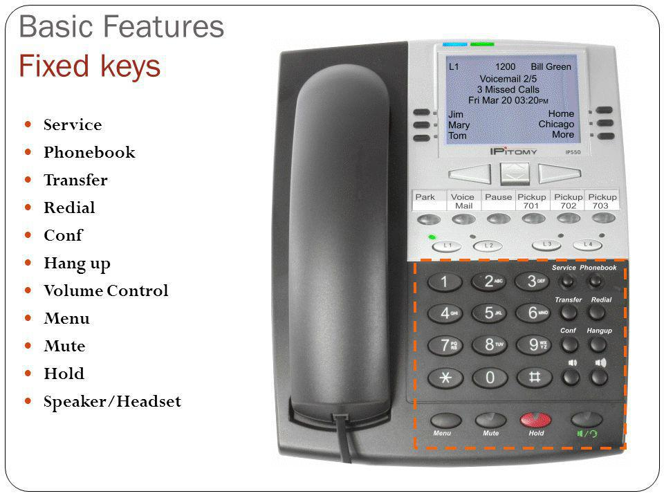 Basic Features Fixed keys Service Phonebook Transfer Redial Conf Hang up Volume Control Menu Mute Hold Speaker/Headset