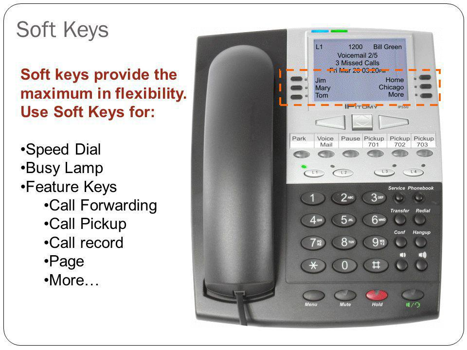 Soft Keys Soft keys provide the maximum in flexibility. Use Soft Keys for: Speed Dial Busy Lamp Feature Keys Call Forwarding Call Pickup Call record P