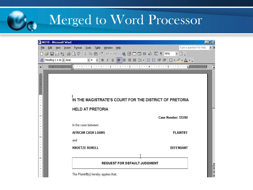 Merged to Word Processor