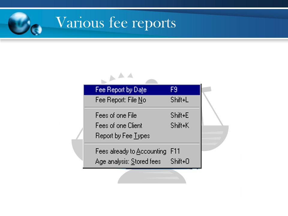 Various fee reports