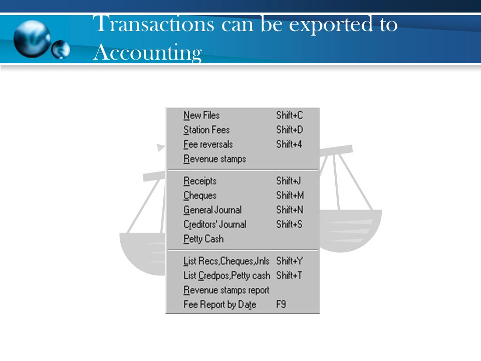 Transactions can be exported to Accounting