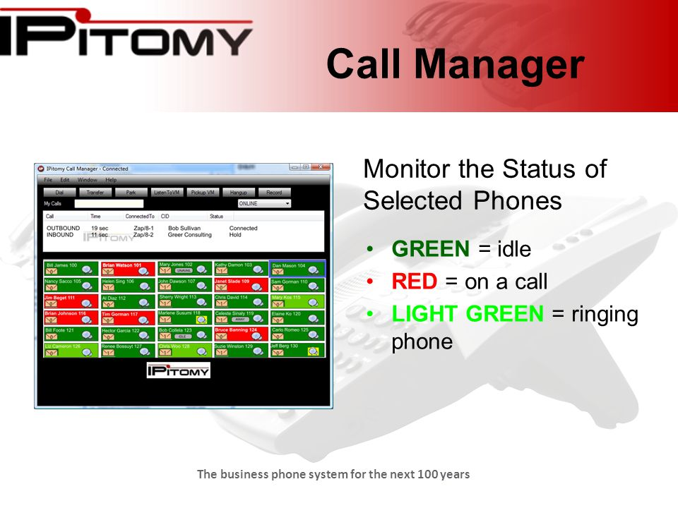 The business phone system for the next 100 years Call Manager GREEN = idle RED = on a call LIGHT GREEN = ringing phone Monitor the Status of Selected Phones