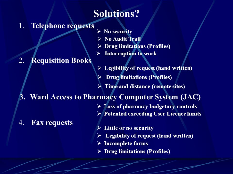 Solutions. 1. Telephone requests No security No Audit Trail 4.