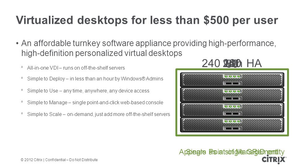 © 2012 Citrix | Confidential – Do Not Distribute Virtualized desktops for less than $500 per user An affordable turnkey software appliance providing high-performance, high-definition personalized virtual desktops All-in-one VDI – runs on off-the-shelf servers Simple to Deploy – in less than an hour by Windows® Admins Simple to Use – any time, anywhere, any device access Simple to Manage – single point-and-click web-based console Simple to Scale – on-demand, just add more off-the-shelf servers 80 160240240 with HA Single Point of ManagementAppears as a single GRID entity