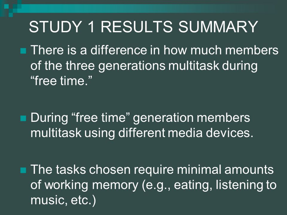 STUDY 1 RESULTS SUMMARY There is a difference in how much members of the three generations multitask during free time.