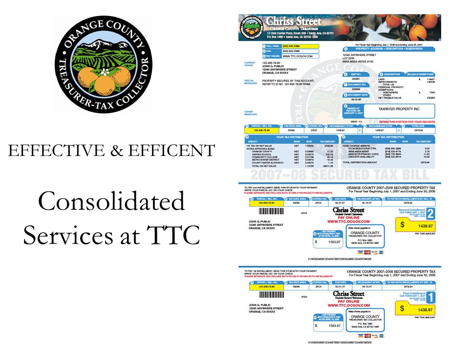 EFFECTIVE & EFFICENT Consolidated Services at TTC