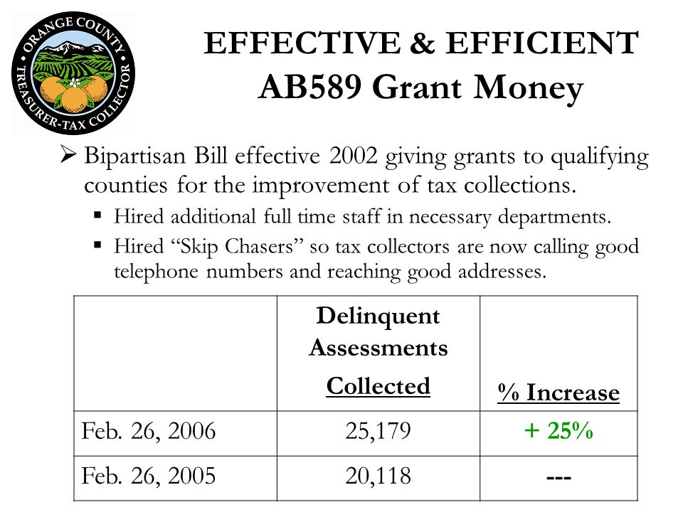 EFFECTIVE & EFFICIENT AB589 Grant Money Bipartisan Bill effective 2002 giving grants to qualifying counties for the improvement of tax collections. Hi
