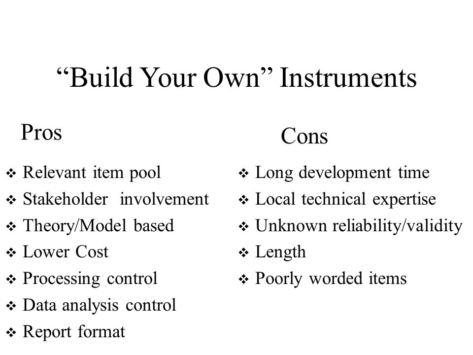 Build Your Own Instruments Relevant item pool Stakeholder involvement Theory/Model based Lower Cost Processing control Data analysis control Report format Long development time Local technical expertise Unknown reliability/validity Length Poorly worded items Pros Cons