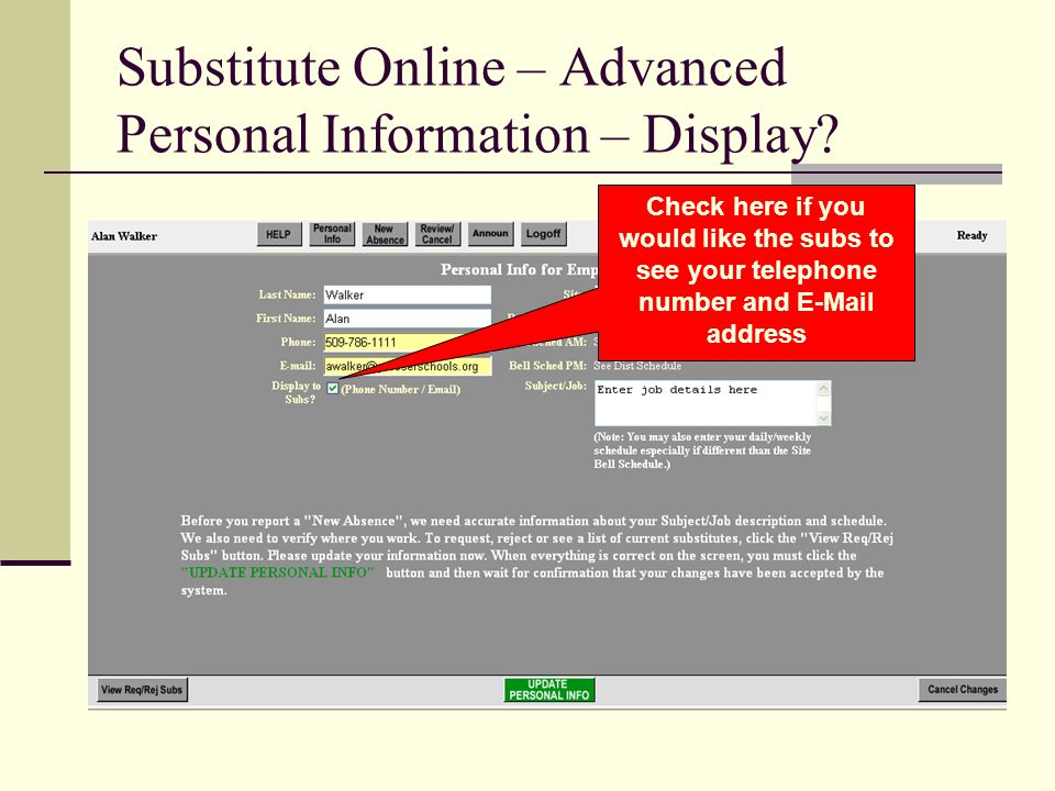 Substitute Online – Advanced Personal Information – Display.