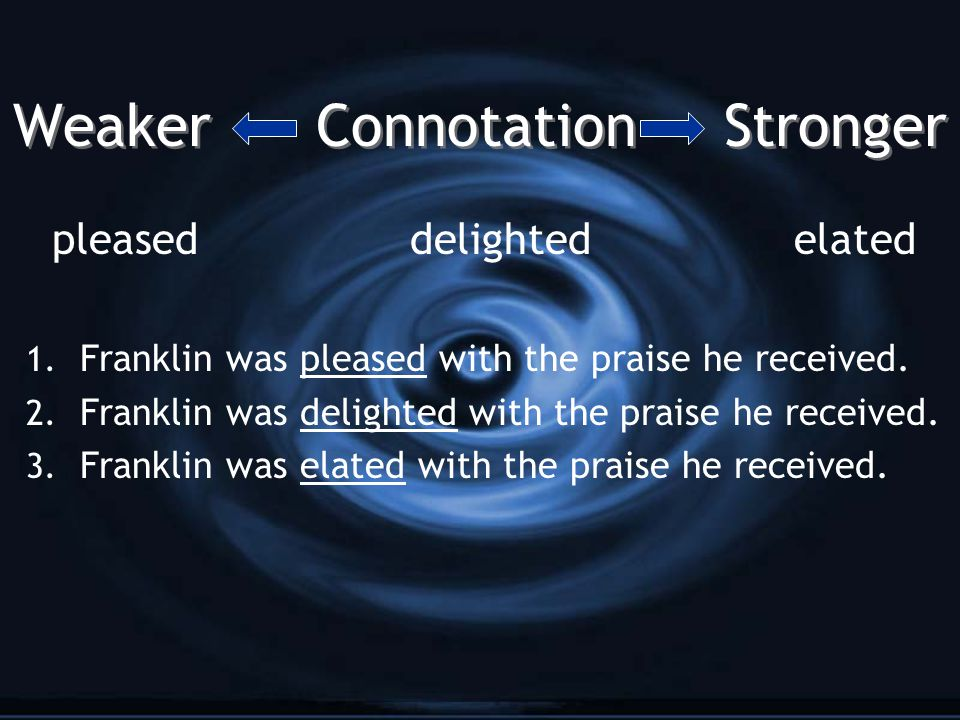 Weaker Connotation Stronger pleased delightedelated 1. Franklin was pleased with the praise he received. 2. Franklin was delighted with the praise he