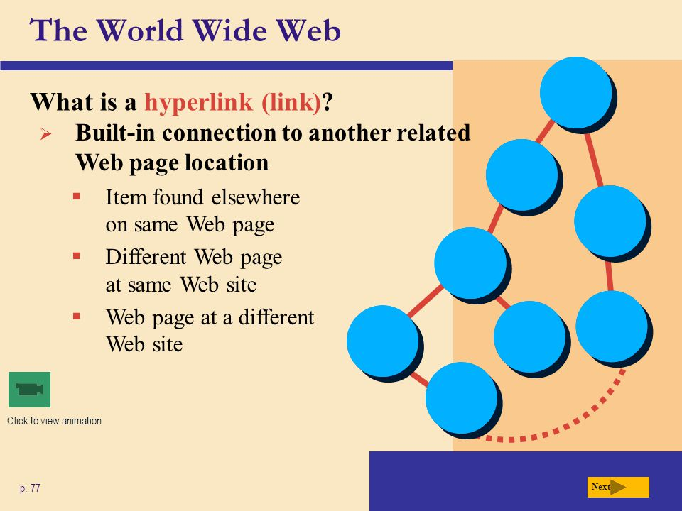 The World Wide Web What is a search engine.p. 78 Fig.