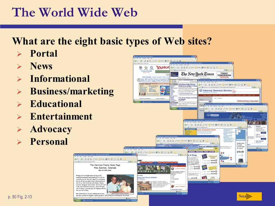 The World Wide Web What are the eight basic types of Web sites? p. 80 Fig. 2-13 Portal News Informational Business/marketing Educational Entertainment