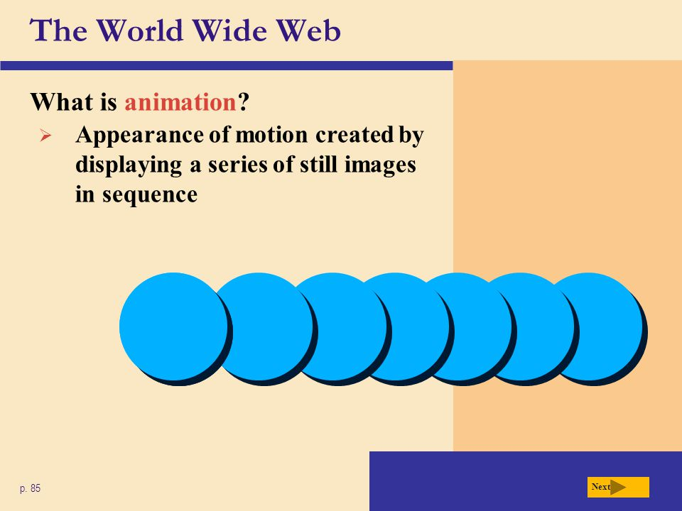 The World Wide Web What is animation? p. 85 Next Appearance of motion created by displaying a series of still images in sequence