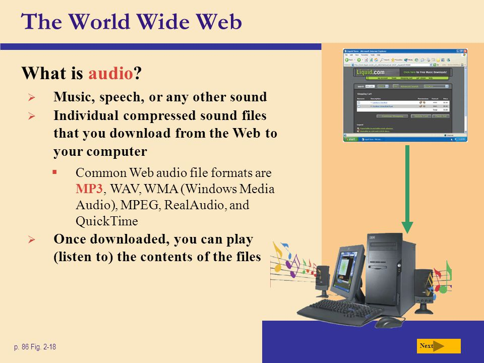 The World Wide Web What is audio? p. 86 Fig. 2-18 Next Music, speech, or any other sound Individual compressed sound files that you download from the