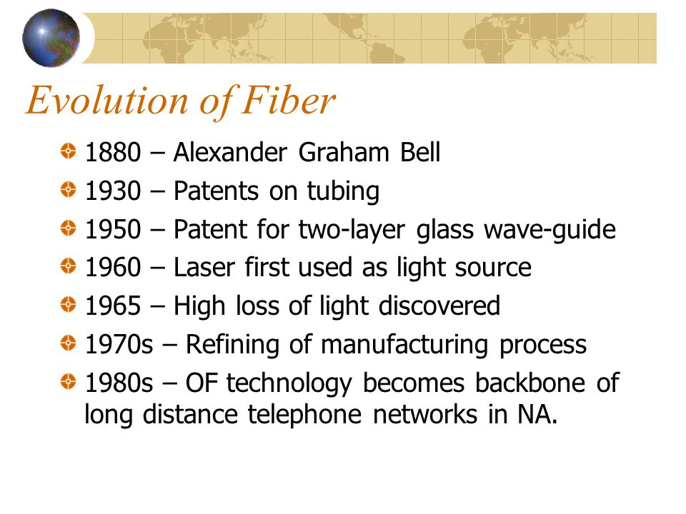 Evolution of Fiber 1880 – Alexander Graham Bell 1930 – Patents on tubing 1950 – Patent for two-layer glass wave-guide 1960 – Laser first used as light