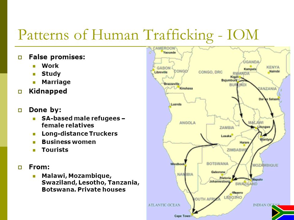 Patterns of Human Trafficking - IOM False promises: Work Study Marriage Kidnapped Done by: SA-based male refugees – female relatives Long-distance Truckers Business women Tourists From: Malawi, Mozambique, Swaziland, Lesotho, Tanzania, Botswana.