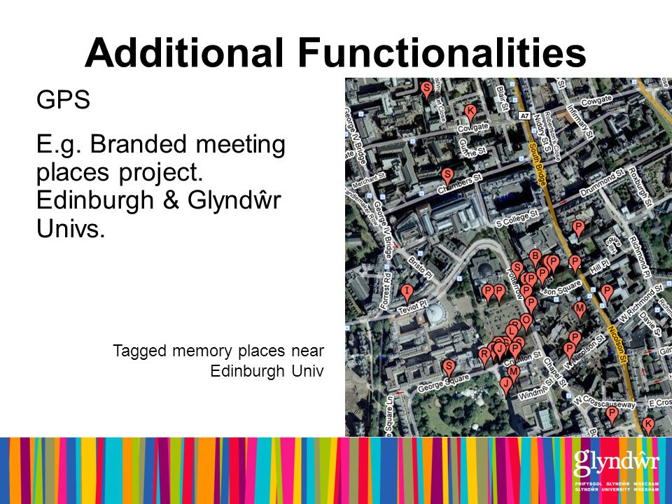 Additional Functionalities GPS E.g. Branded meeting places project.