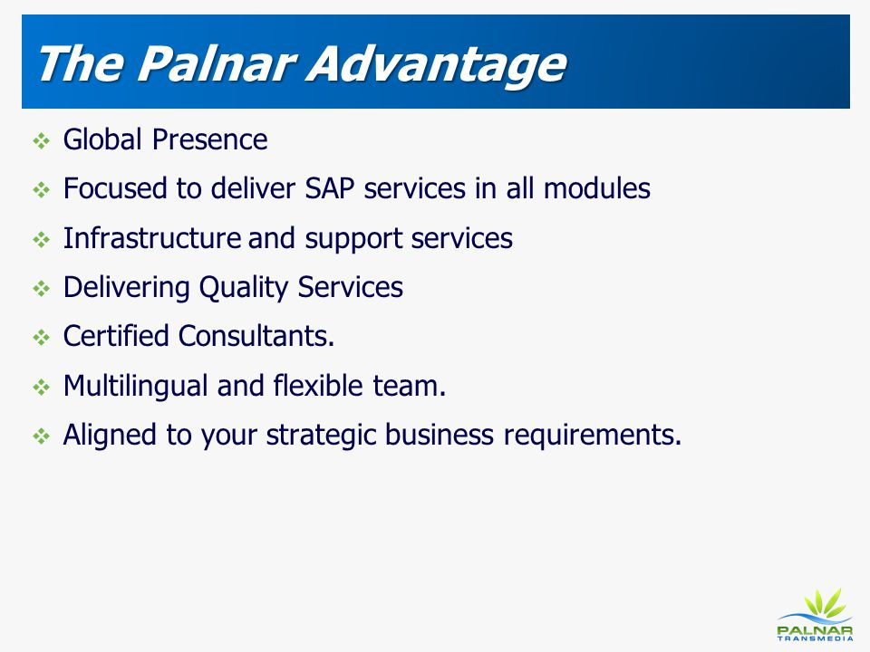 The Palnar Advantage Global Presence Focused to deliver SAP services in all modules Infrastructure and support services Delivering Quality Services Ce