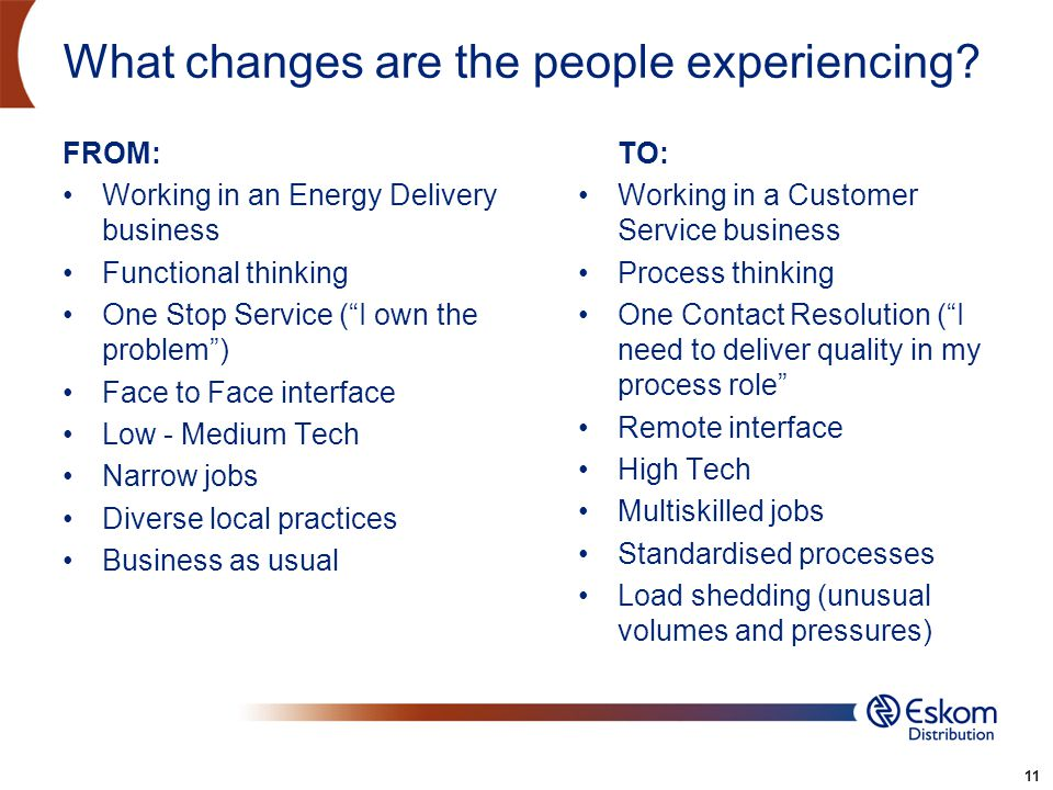 11 What changes are the people experiencing? FROM: Working in an Energy Delivery business Functional thinking One Stop Service (I own the problem) Fac