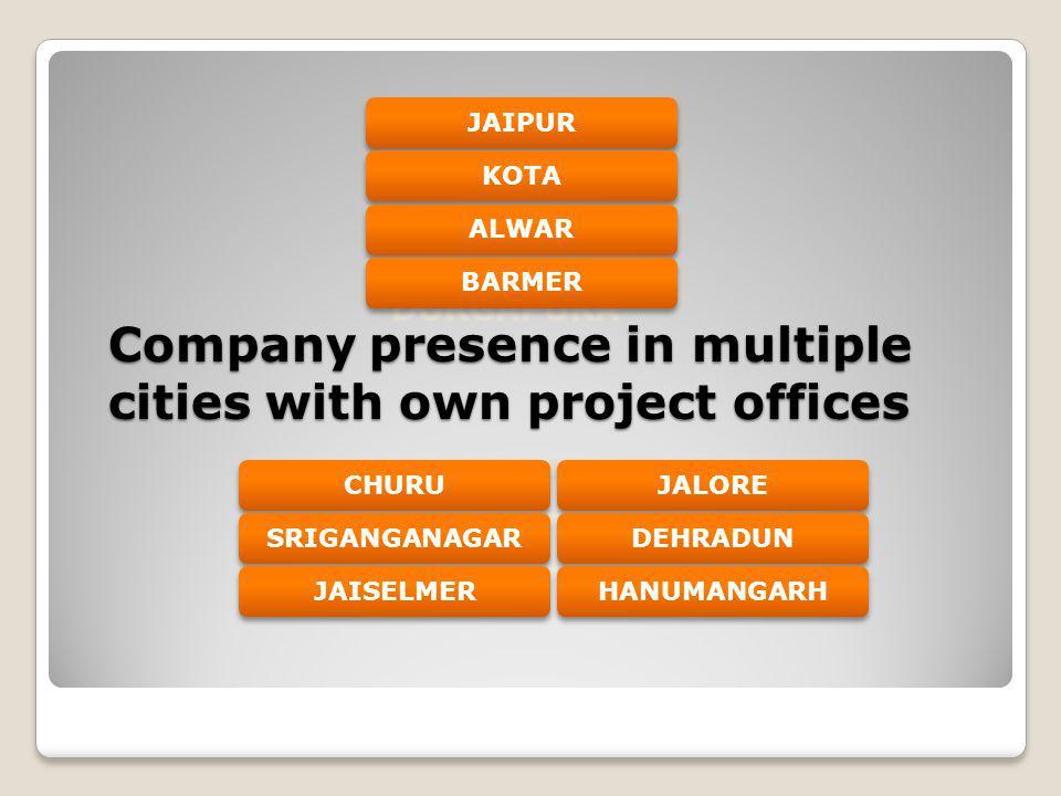 Company presence in multiple cities with own project offices DURGAPURA M.I.ROAD JAIPURKOTAALWARBARMERJALOREDEHRADUNCHURUHANUMANGARHSRIGANGANAGARJAISEL