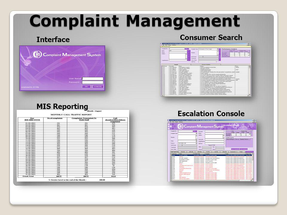 Complaint Management Interface Consumer Search Escalation Console MIS Reporting