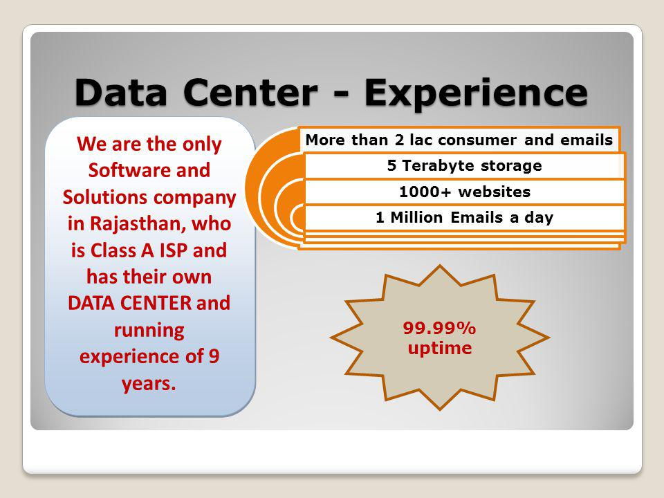Data Center - Experience We are the only Software and Solutions company in Rajasthan, who is Class A ISP and has their own DATA CENTER and running experience of 9 years.