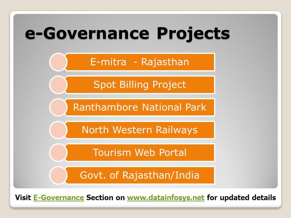 e-Governance Projects E-mitra - Rajasthan Spot Billing Project Ranthambore National Park North Western Railways Tourism Web Portal Govt.